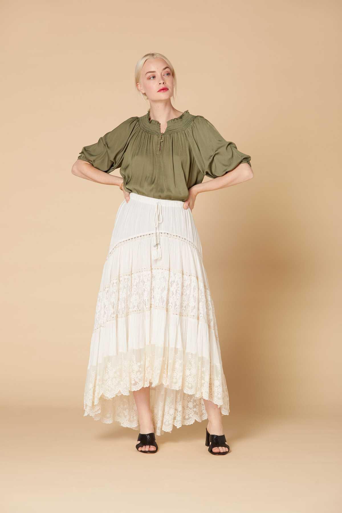 Jupe longue en coton texturé et dentelle Hative Jupe | Derhy