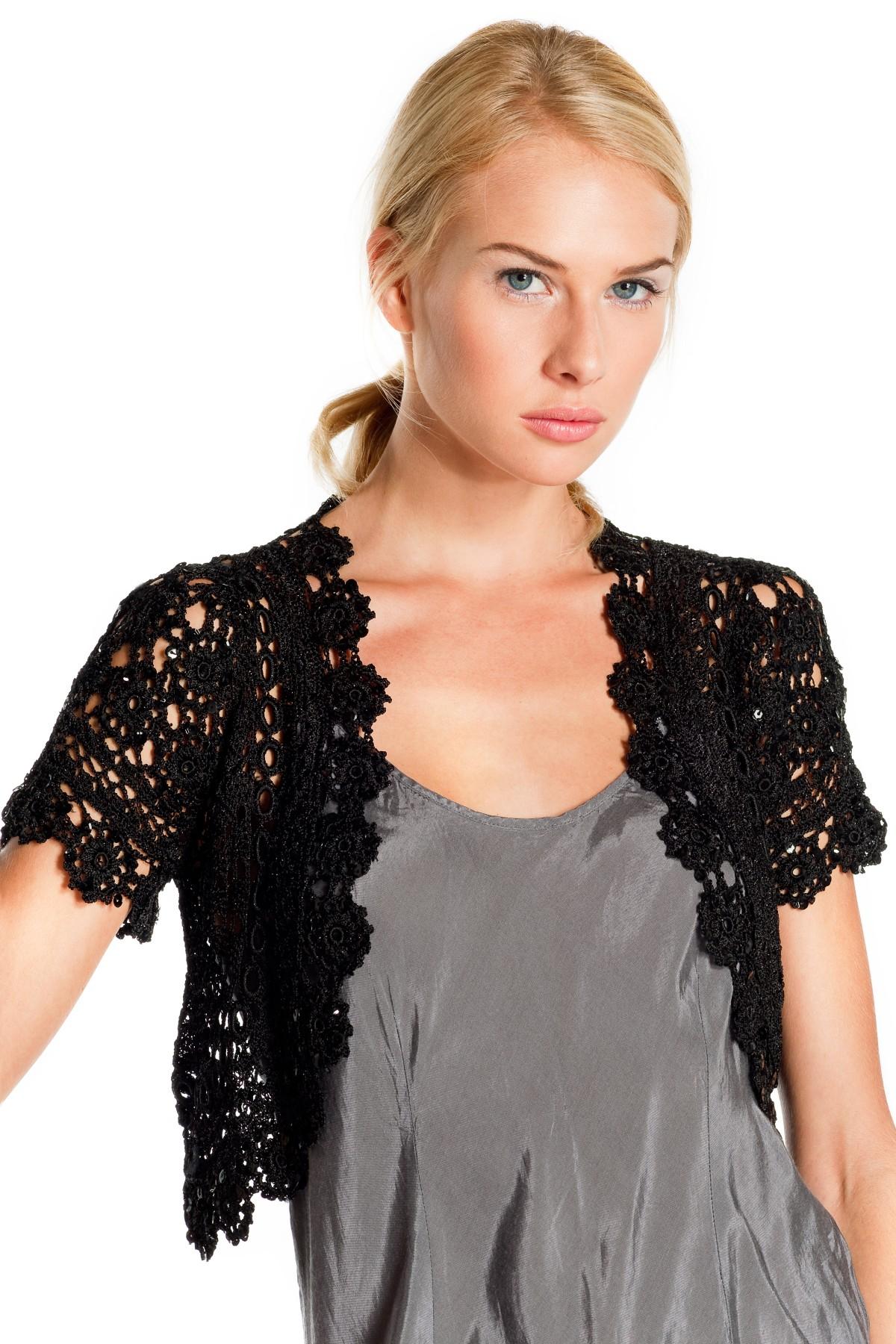 Détails - Short sleeve bolero in viscose crochet. Top Pacte Gilet