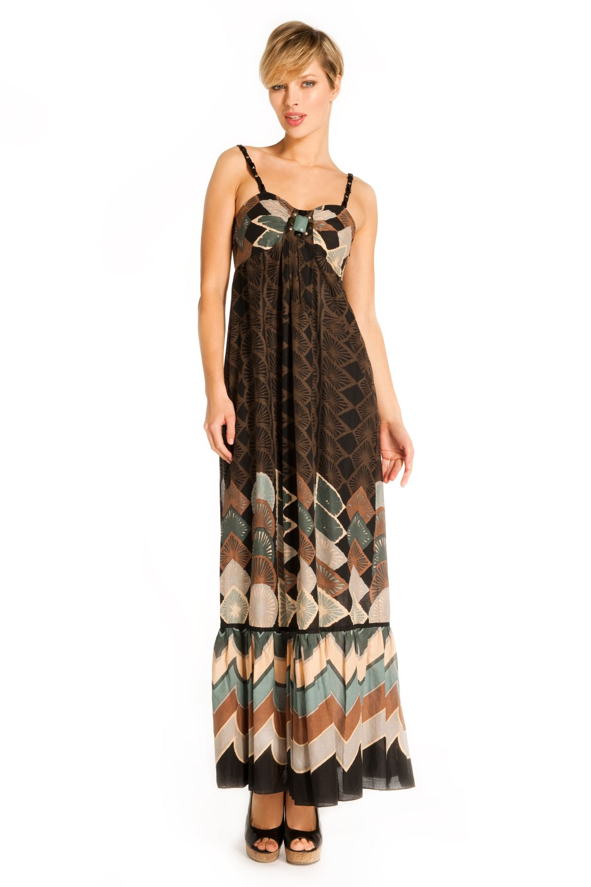 robe longue bretelles tissu imprim ethnique derhy. Black Bedroom Furniture Sets. Home Design Ideas