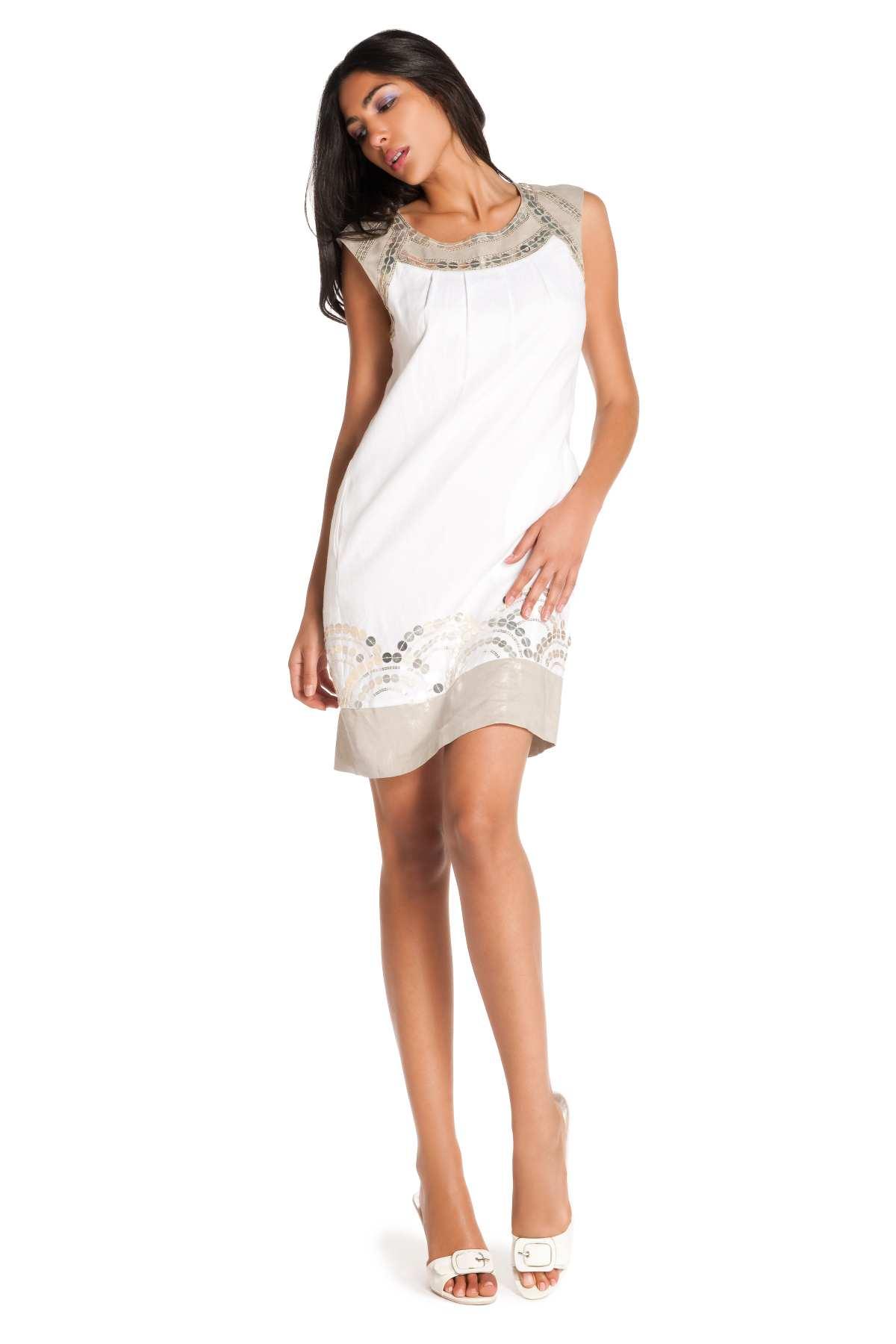 Fabuleux Robe droite en lin blanche, robe Salaire. Derhy #MW_65