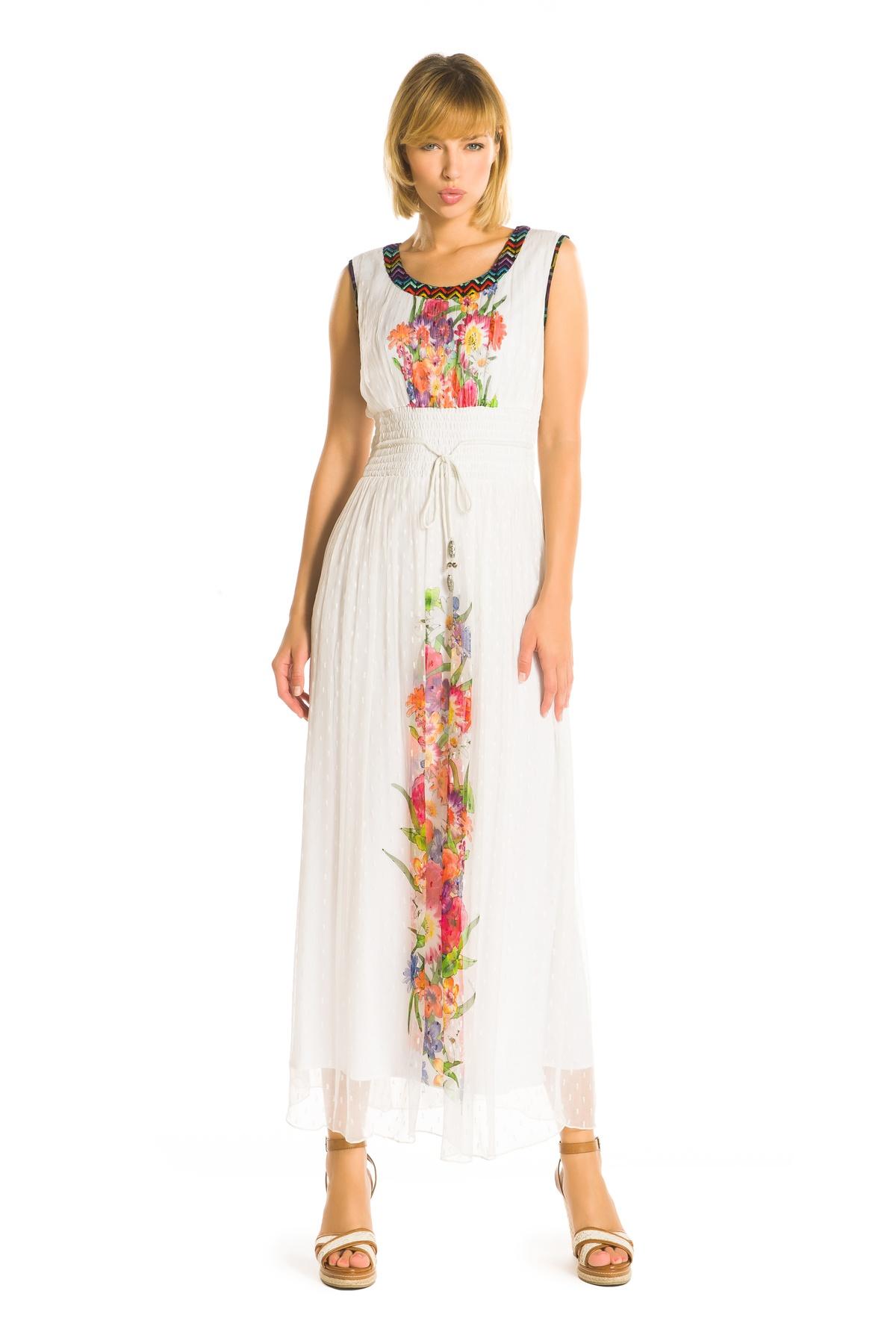 Robe Longue Imprime Fleurs Zigzag Robe Tibia Derhy