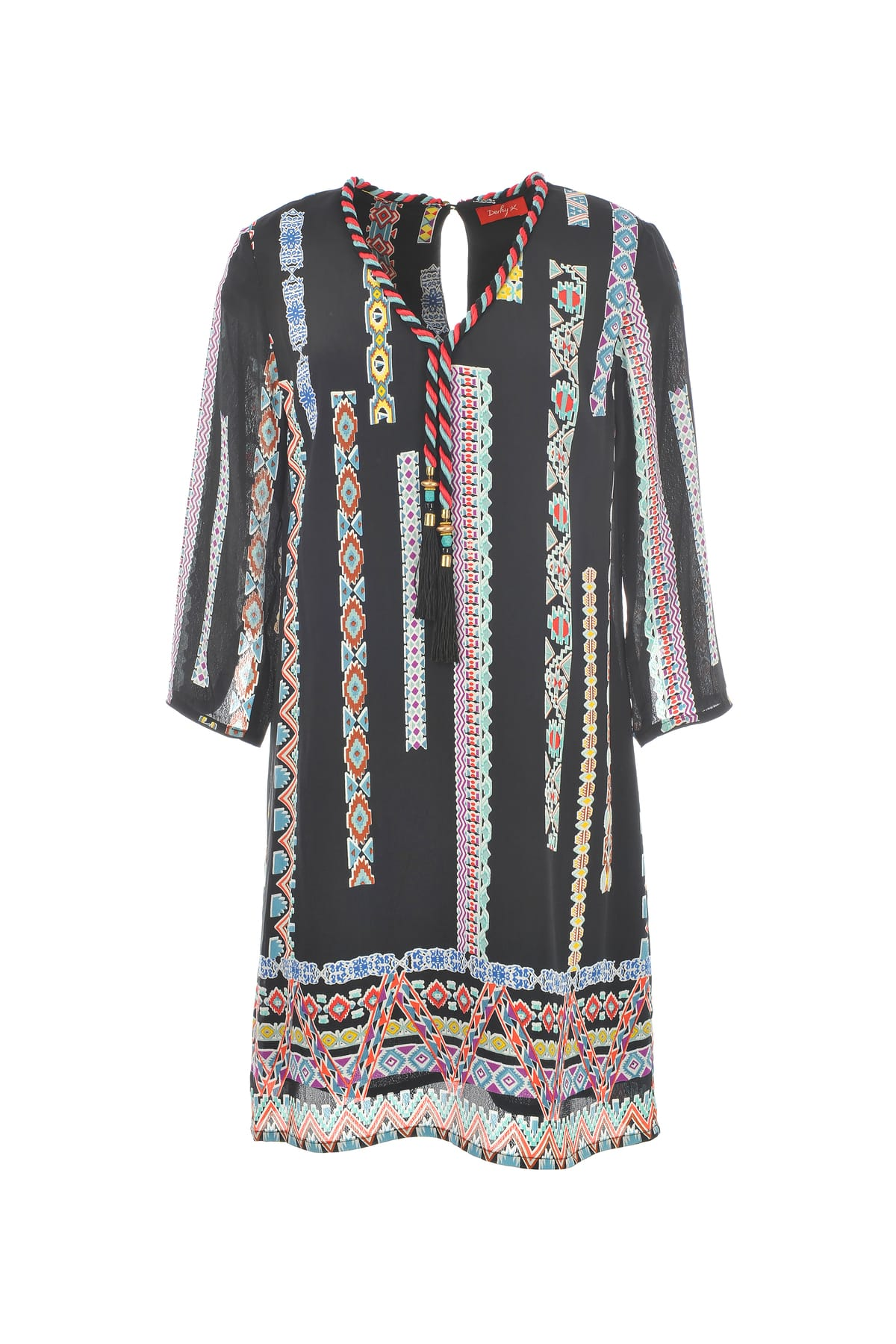 robe imprim ethnique manches longues avec cordon au niveau du col avec pompons derhy. Black Bedroom Furniture Sets. Home Design Ideas